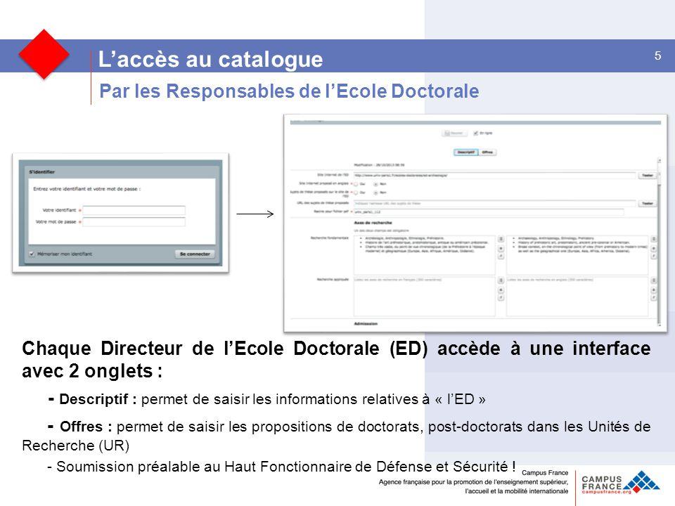 L'accès au catalogue Par les Responsables de l'Ecole Doctorale
