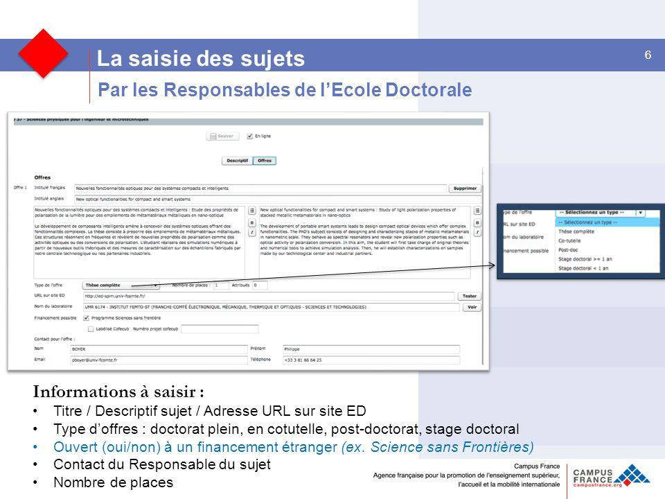 La saisie des sujets Par les Responsables de l'Ecole Doctorale