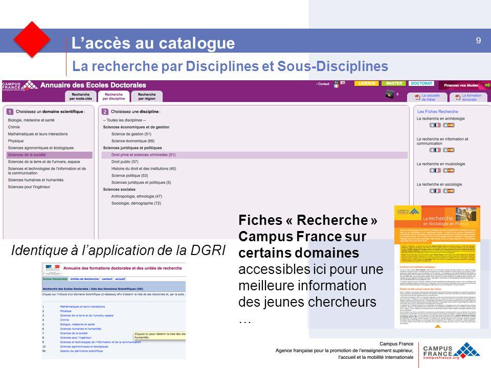 L'accès au catalogue La recherche par Disciplines et Sous-Disciplines