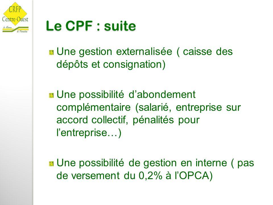 Le CPF : suite Une gestion externalisée ( caisse des dépôts et consignation)