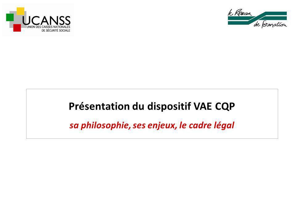 Présentation du dispositif VAE CQP sa philosophie, ses enjeux, le cadre légal