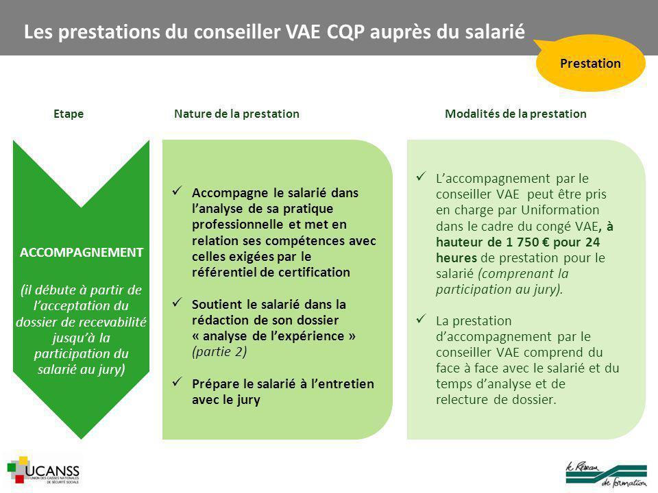 Les prestations du conseiller VAE CQP auprès du salarié