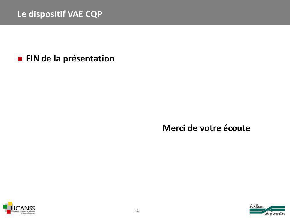 Le dispositif VAE CQP FIN de la présentation Merci de votre écoute
