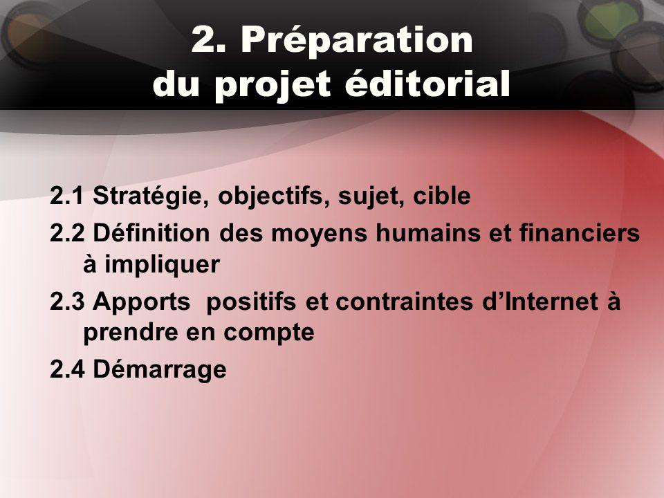 2. Préparation du projet éditorial