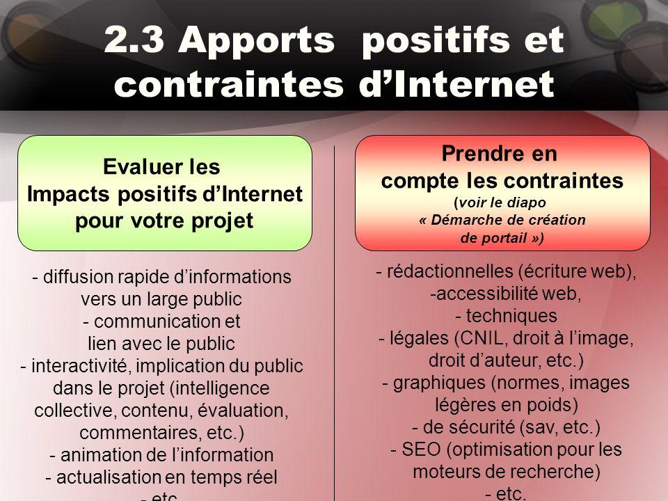 2.3 Apports positifs et contraintes d'Internet