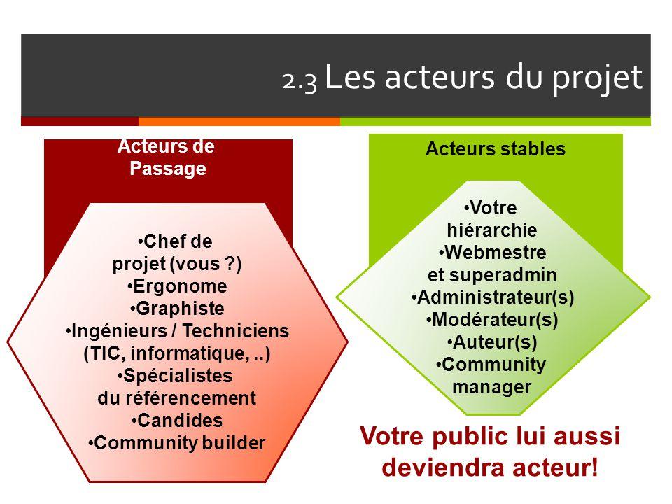 2.3 Les acteurs du projet Votre public lui aussi deviendra acteur!
