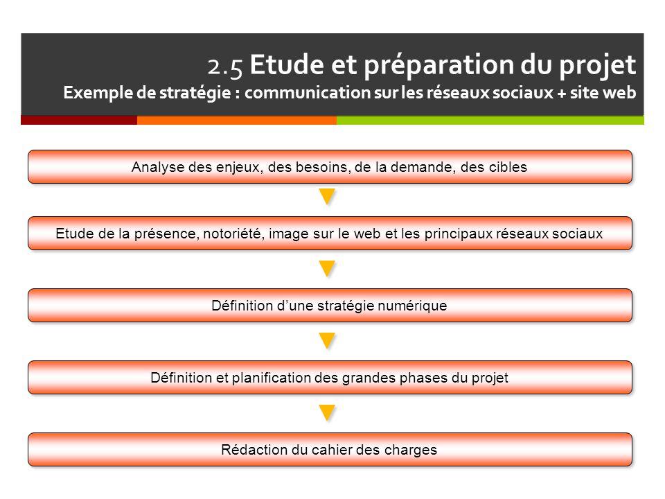 2.5 Etude et préparation du projet Exemple de stratégie : communication sur les réseaux sociaux + site web