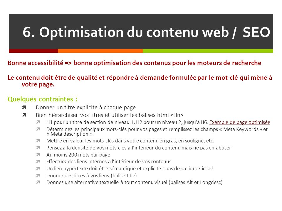 6. Optimisation du contenu web / SEO