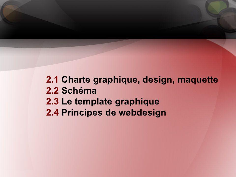 2. Webdesign 2.1 Charte graphique, design, maquette 2.2 Schéma