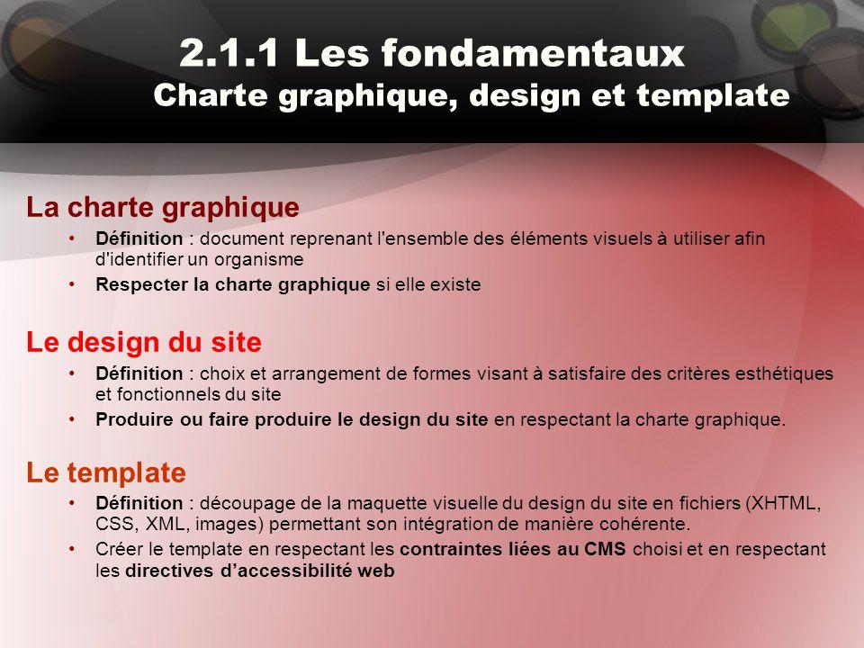 2.1.1 Les fondamentaux Charte graphique, design et template