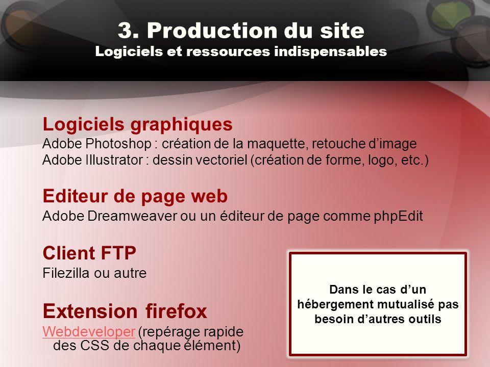 3. Production du site Logiciels et ressources indispensables