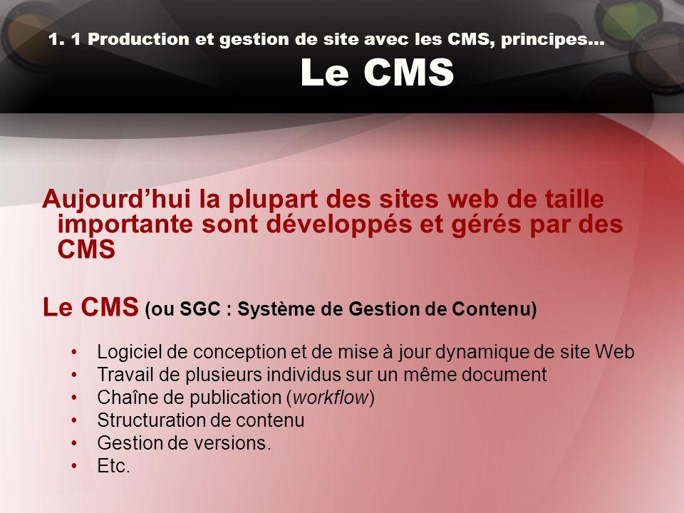 1. 1 Production et gestion de site avec les CMS, principes… Le CMS