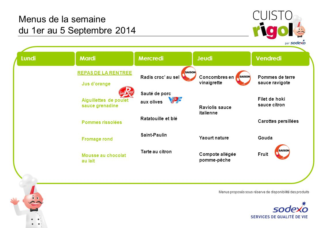 Menus de la semaine du 1er au 5 Septembre 2014 REPAS DE LA RENTREE