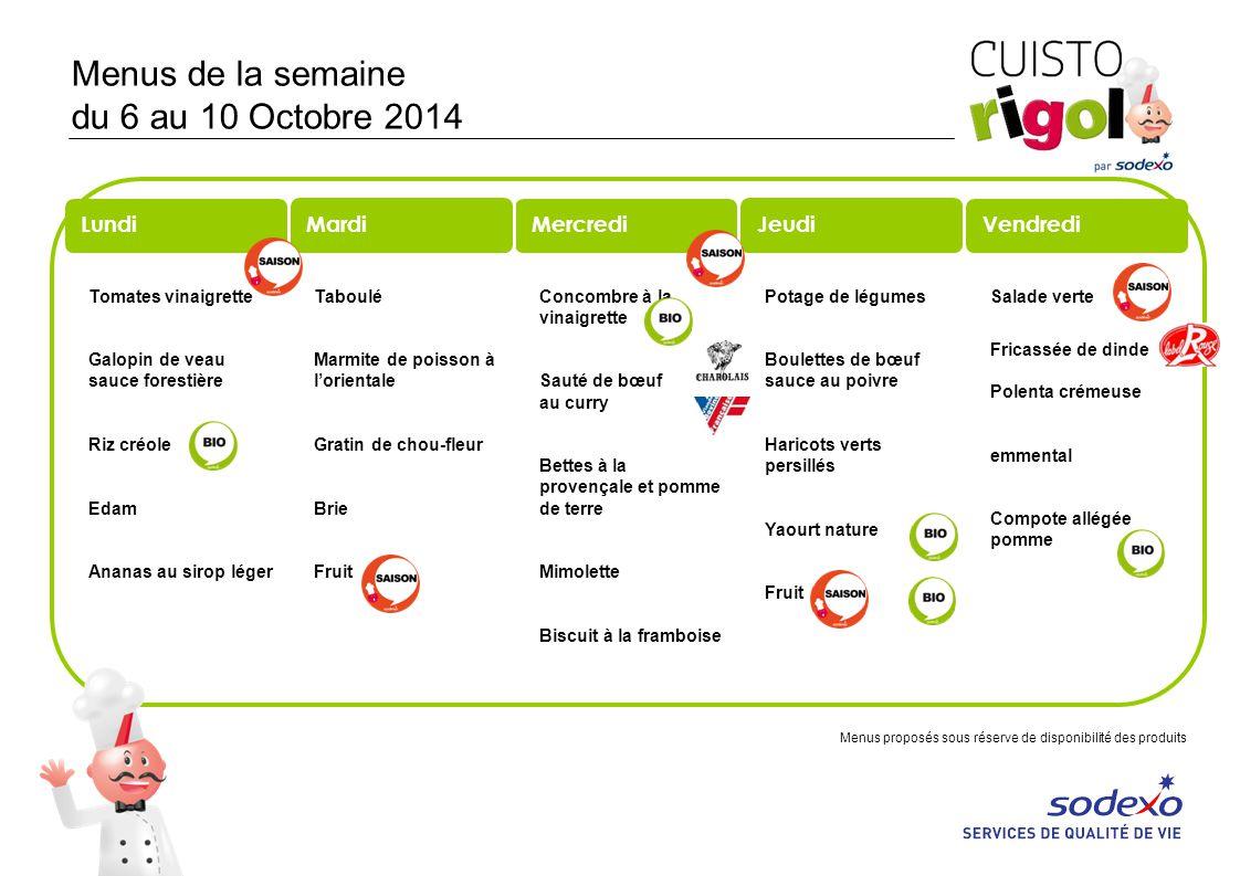 Menus de la semaine du 6 au 10 Octobre 2014 Tomates vinaigrette