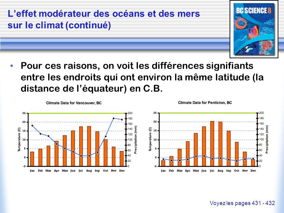 L'effet modérateur des océans et des mers sur le climat (continué)