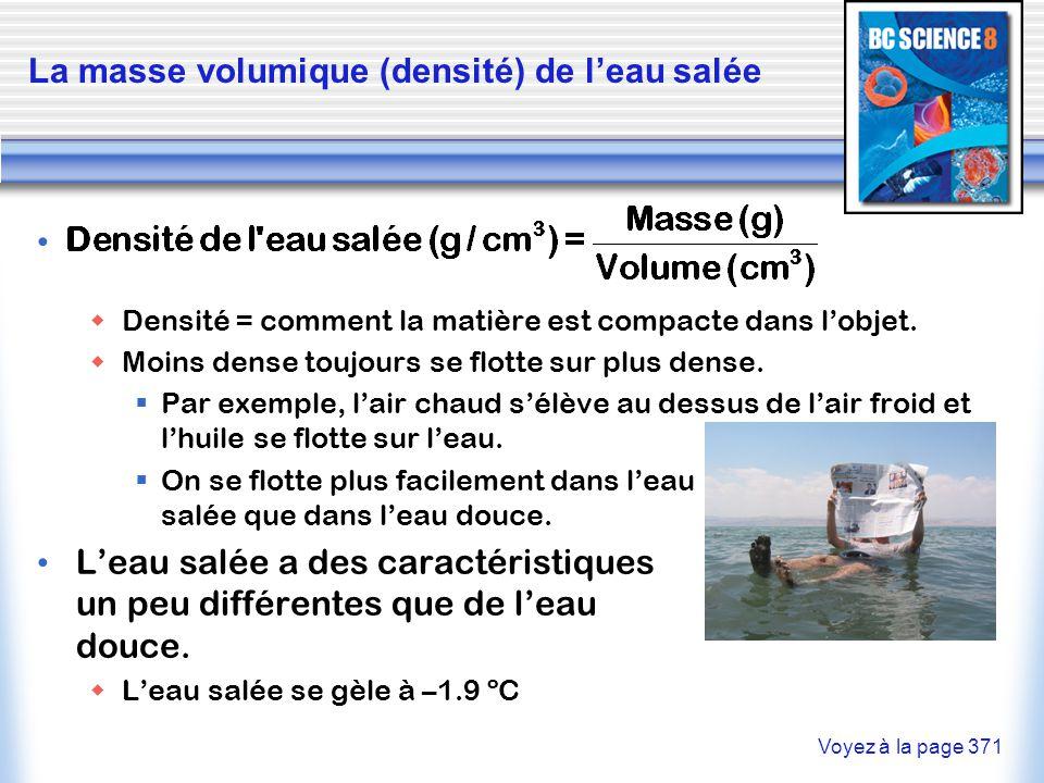 La masse volumique (densité) de l'eau salée