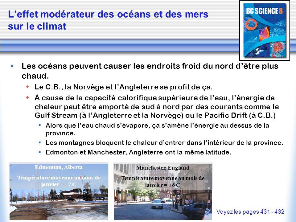L'effet modérateur des océans et des mers sur le climat