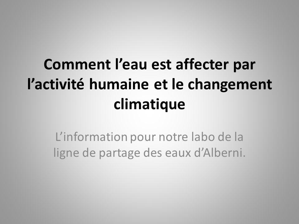 Comment l'eau est affecter par l'activité humaine et le changement climatique