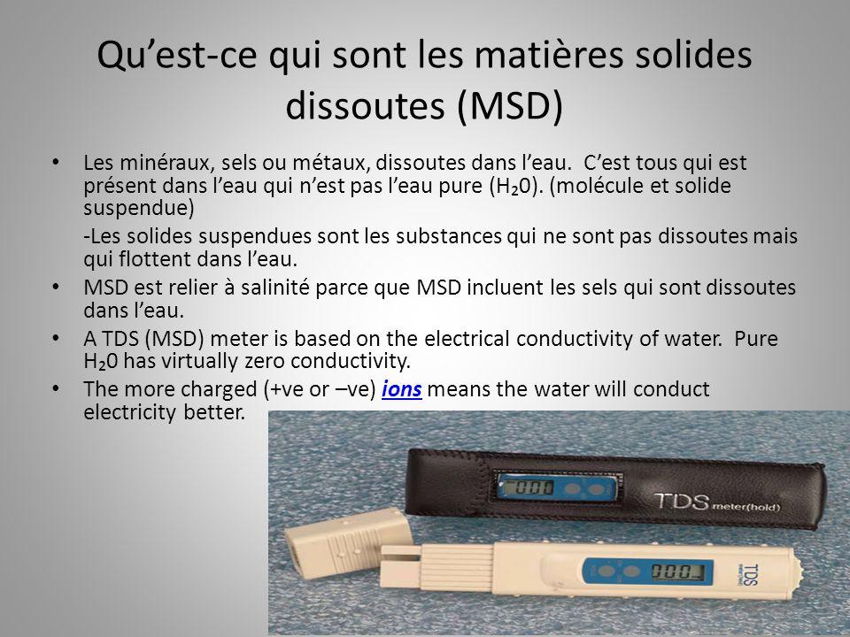 Qu'est-ce qui sont les matières solides dissoutes (MSD)