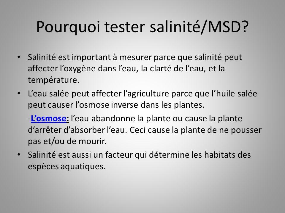 Pourquoi tester salinité/MSD