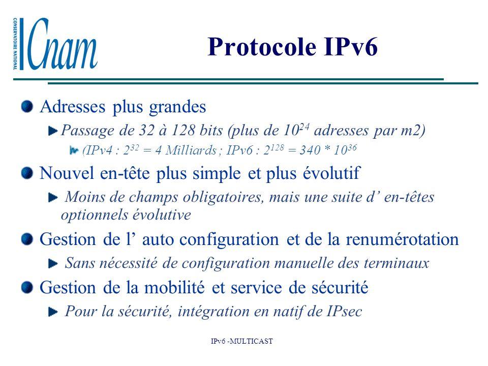 Protocole IPv6 Adresses plus grandes