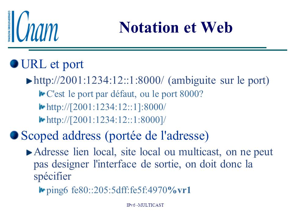 Notation et Web URL et port Scoped address (portée de l adresse)