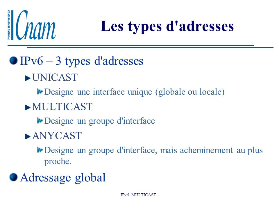 Les types d adresses IPv6 – 3 types d adresses Adressage global