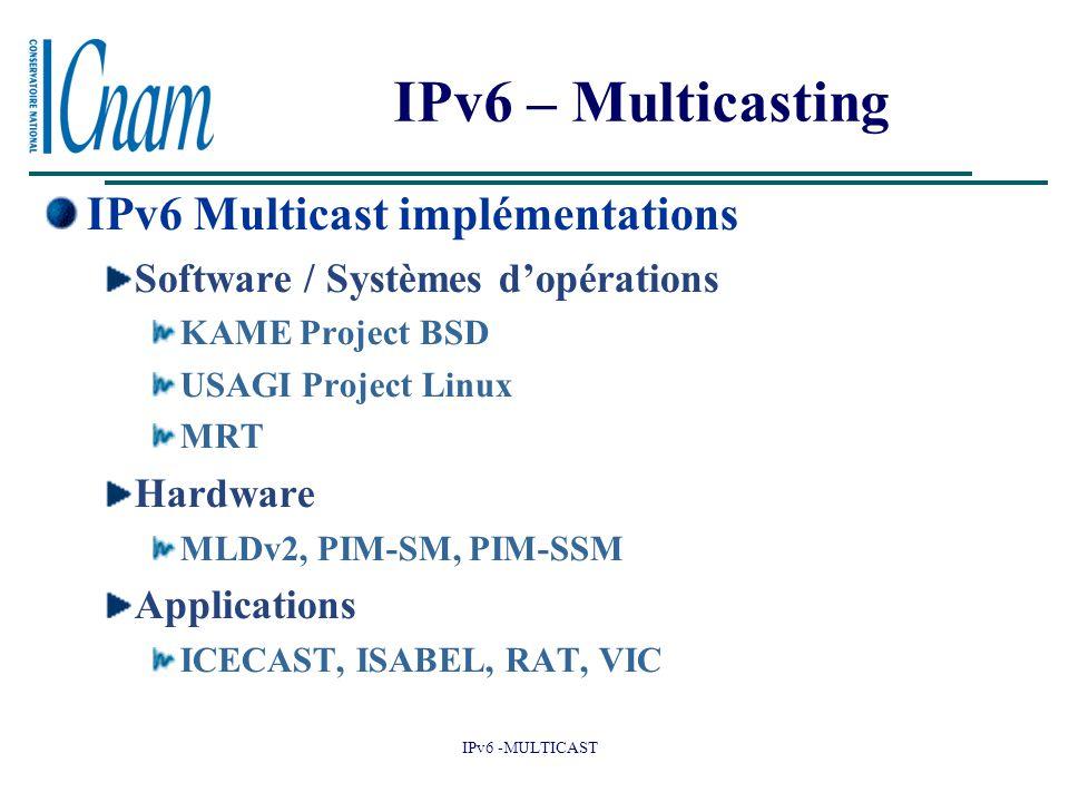 IPv6 – Multicasting IPv6 Multicast implémentations