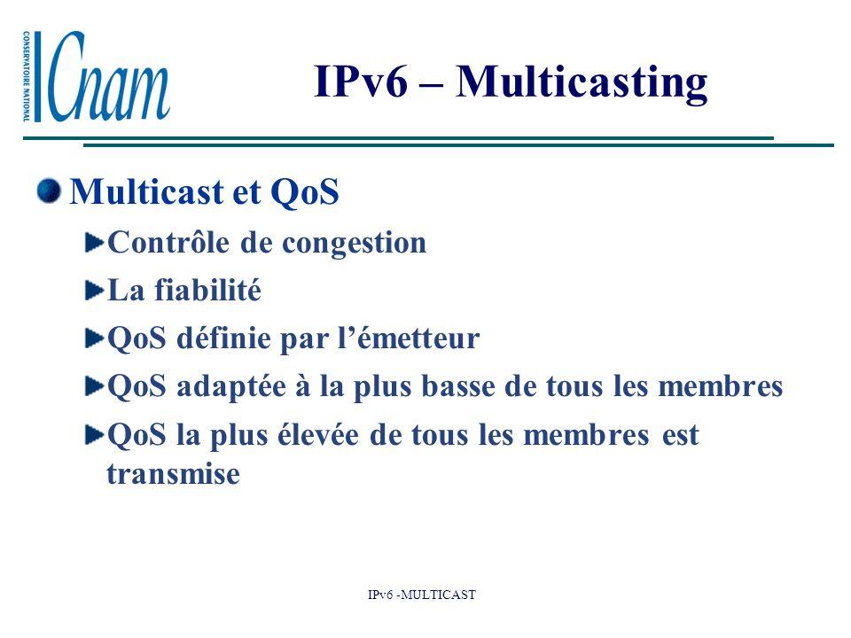 IPv6 – Multicasting Multicast et QoS Contrôle de congestion