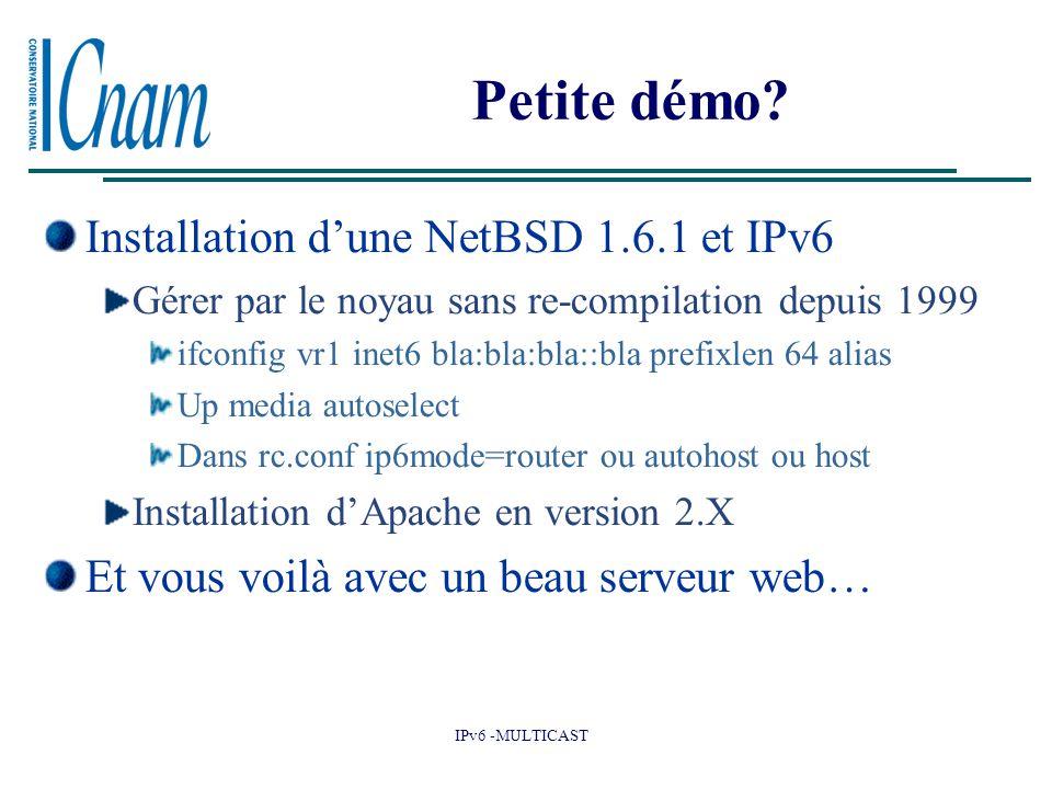 Petite démo Installation d'une NetBSD 1.6.1 et IPv6