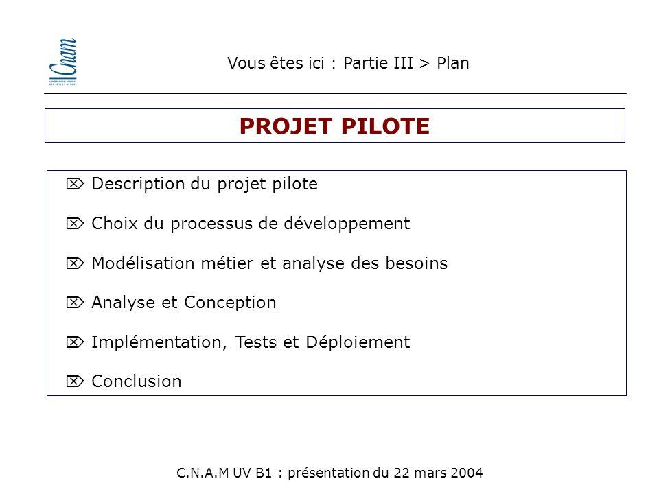 PROJET PILOTE  Description du projet pilote