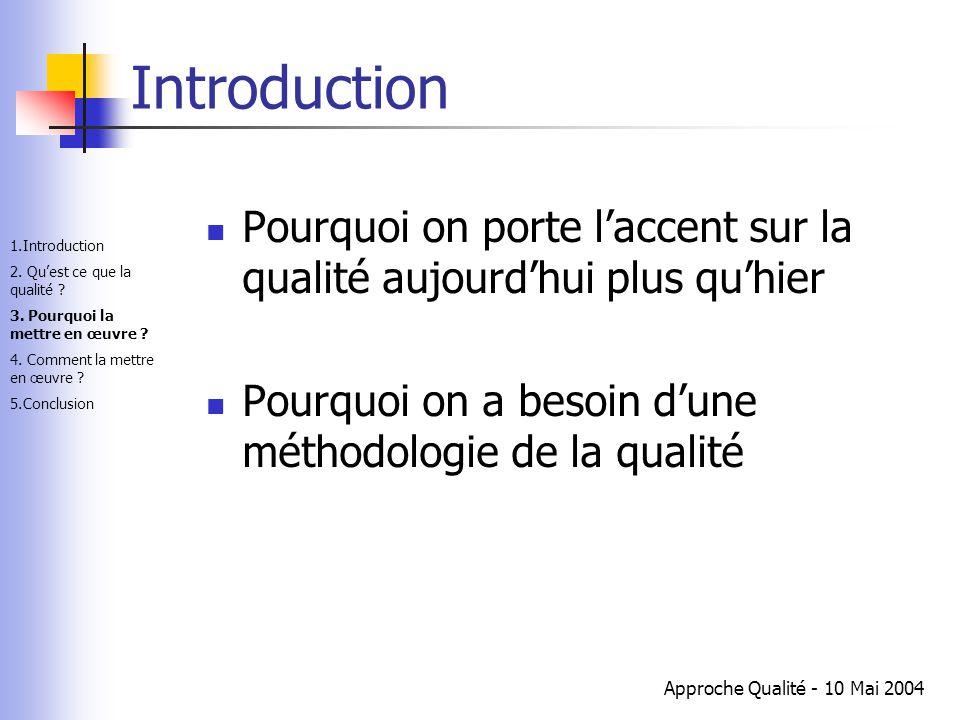Introduction Pourquoi on porte l'accent sur la qualité aujourd'hui plus qu'hier. Pourquoi on a besoin d'une méthodologie de la qualité.