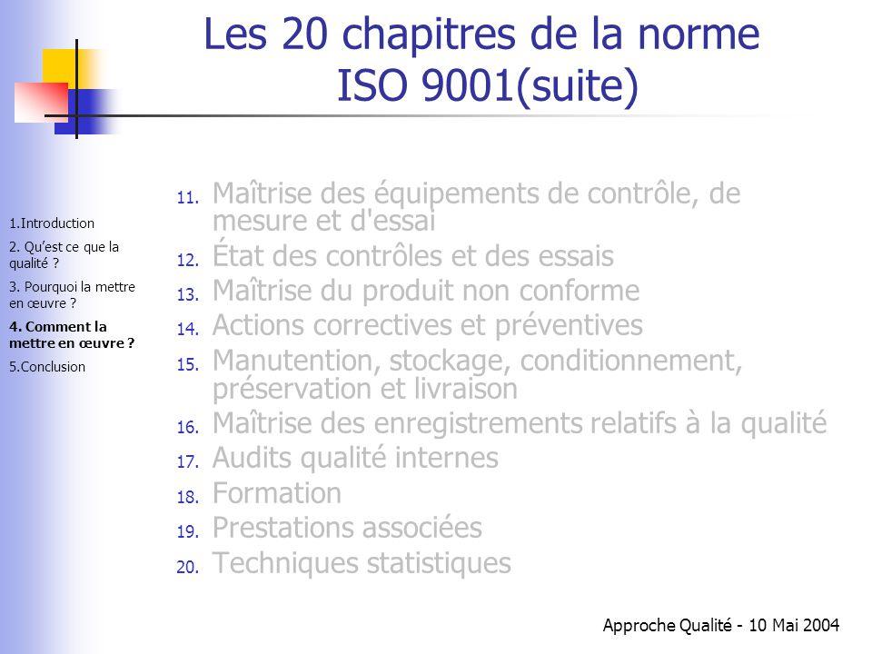 Les 20 chapitres de la norme ISO 9001(suite)