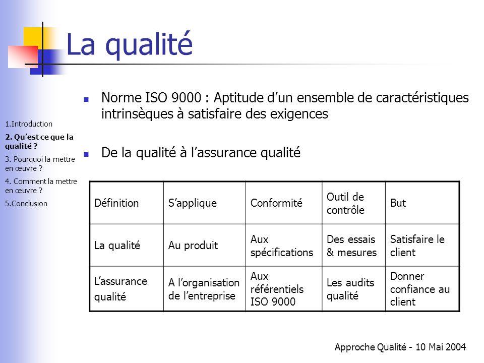 La qualité Norme ISO 9000 : Aptitude d'un ensemble de caractéristiques intrinsèques à satisfaire des exigences.