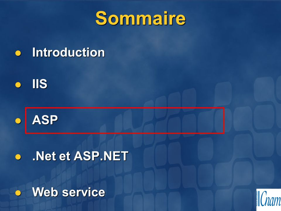 06/04/2017 Sommaire Introduction IIS ASP .Net et ASP.NET Web service