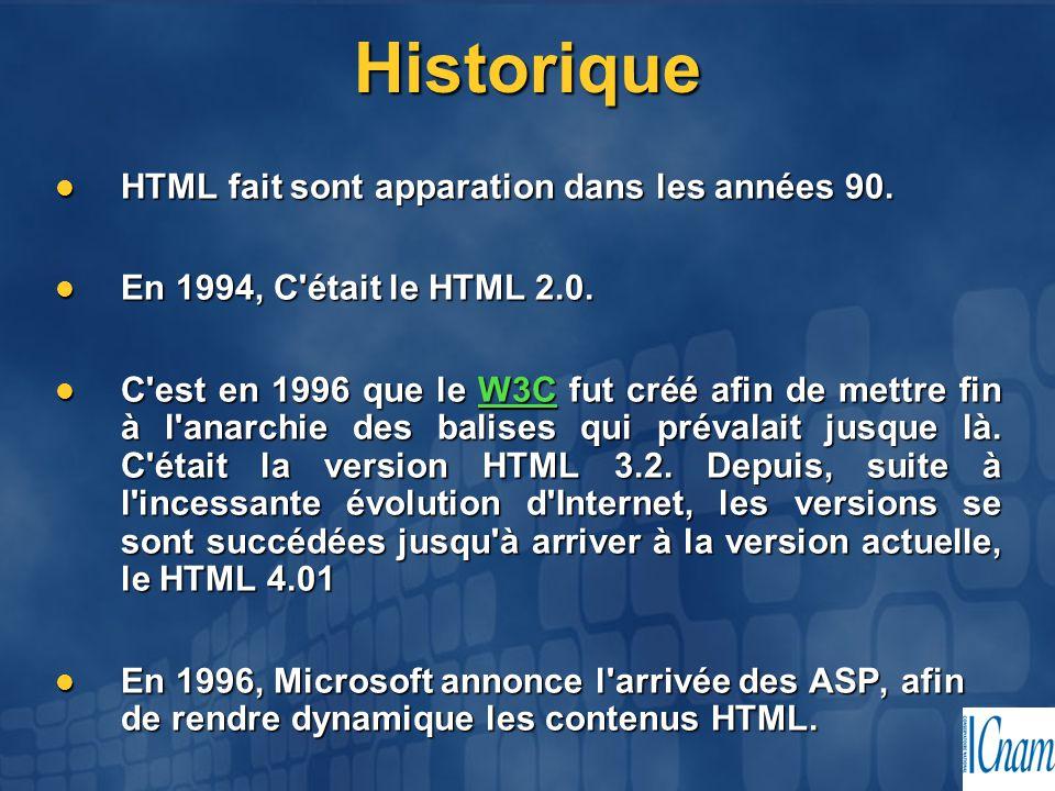 Historique HTML fait sont apparation dans les années 90.
