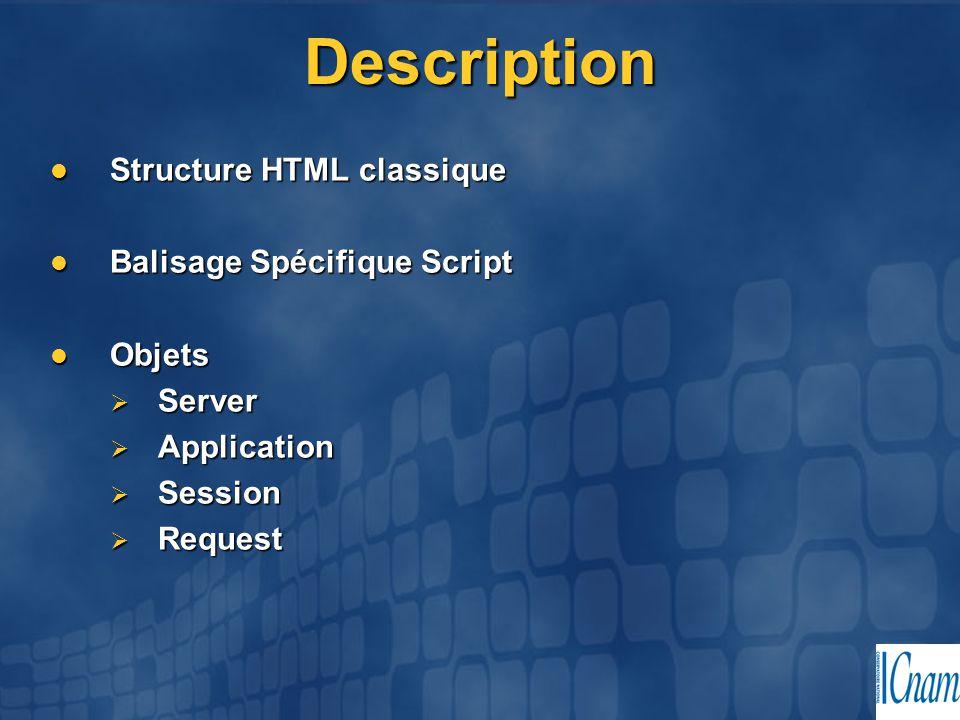 Description Structure HTML classique Balisage Spécifique Script Objets