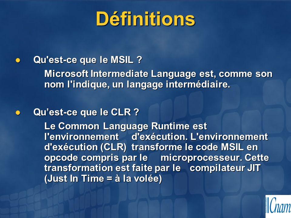 Définitions Qu est-ce que le MSIL