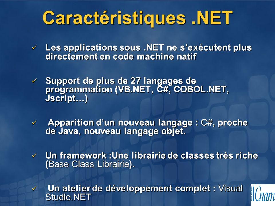 Caractéristiques .NET Les applications sous .NET ne s'exécutent plus directement en code machine natif.