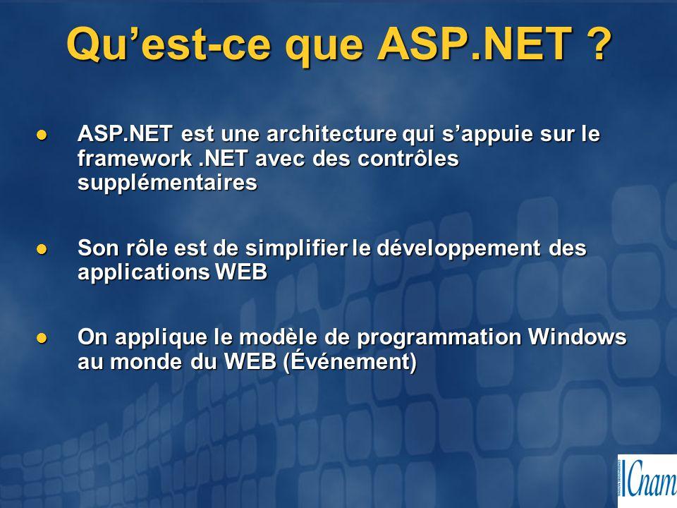 Qu'est-ce que ASP.NET ASP.NET est une architecture qui s'appuie sur le framework .NET avec des contrôles supplémentaires.