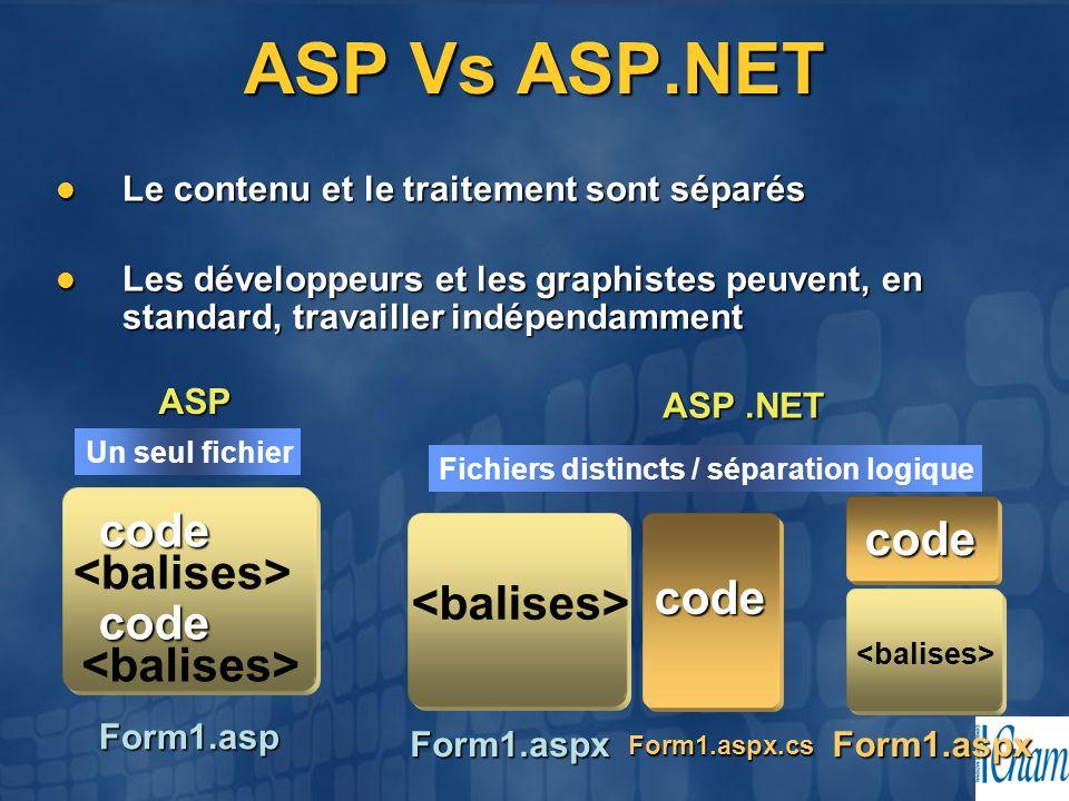 ASP Vs ASP.NET code code <balises> code <balises>
