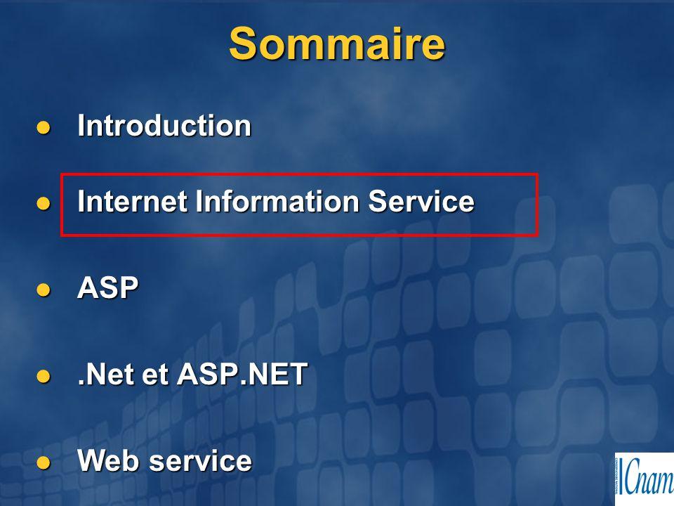 Sommaire Introduction Internet Information Service ASP .Net et ASP.NET