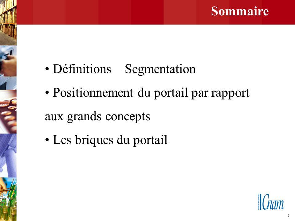 Sommaire • Définitions – Segmentation. • Positionnement du portail par rapport. aux grands concepts.
