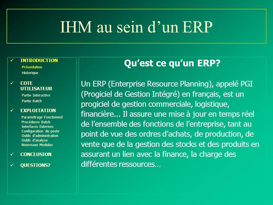 IHM au sein d'un ERP Qu'est ce qu'un ERP