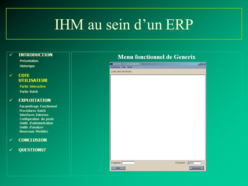 Menu fonctionnel de Generix
