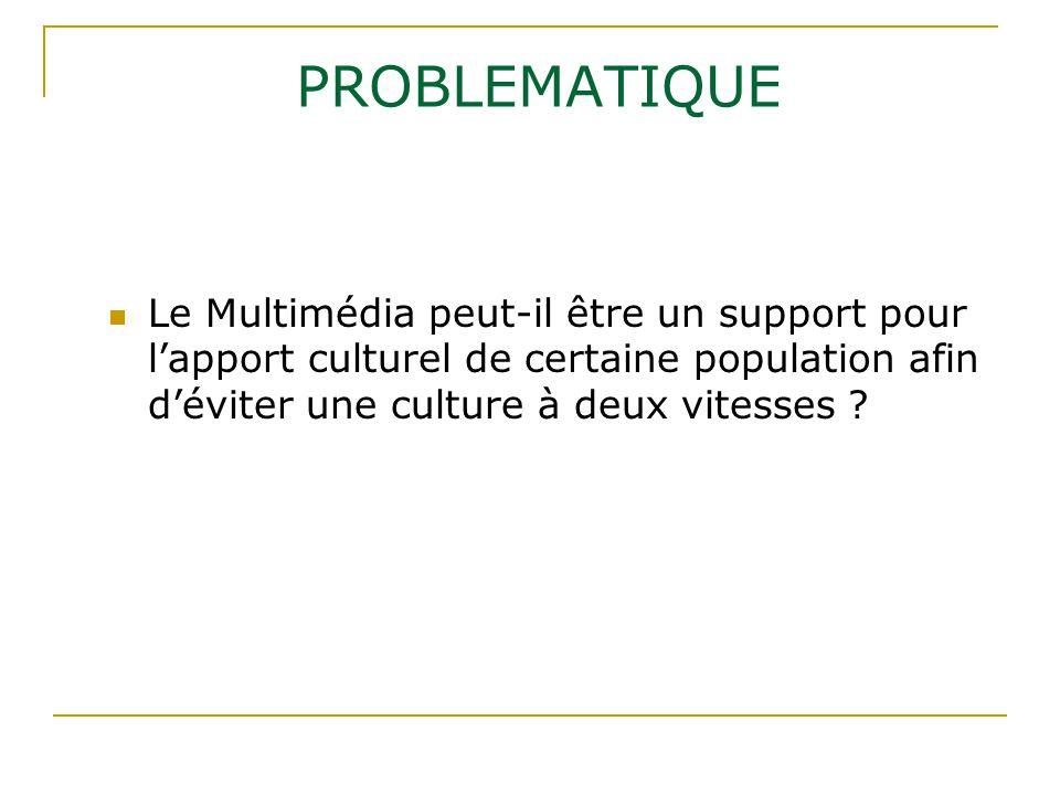 PROBLEMATIQUE Le Multimédia peut-il être un support pour l'apport culturel de certaine population afin d'éviter une culture à deux vitesses