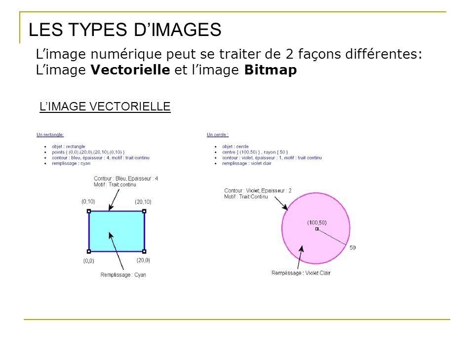 LES TYPES D'IMAGES L'image numérique peut se traiter de 2 façons différentes: L'image Vectorielle et l'image Bitmap.