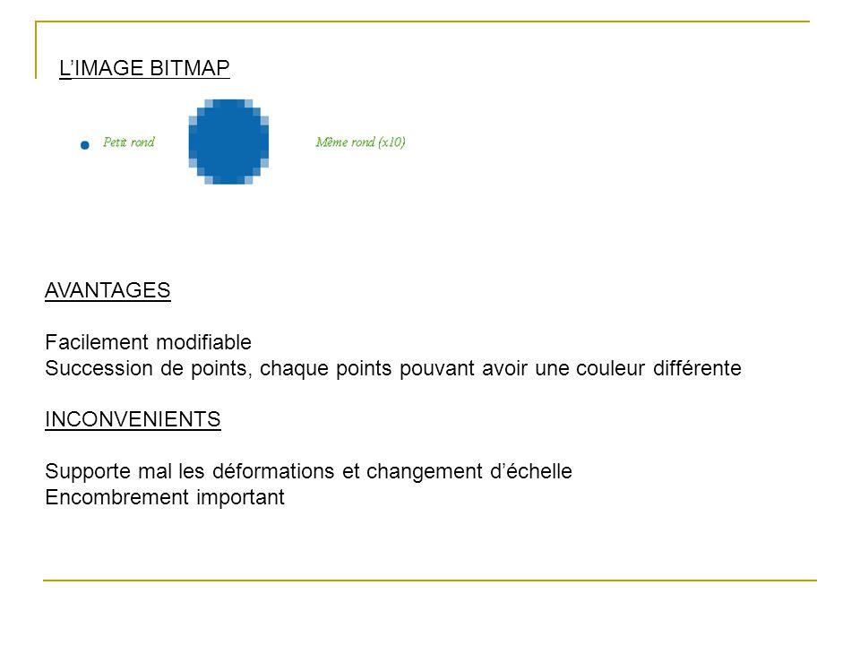 L'IMAGE BITMAP AVANTAGES. Facilement modifiable. Succession de points, chaque points pouvant avoir une couleur différente.