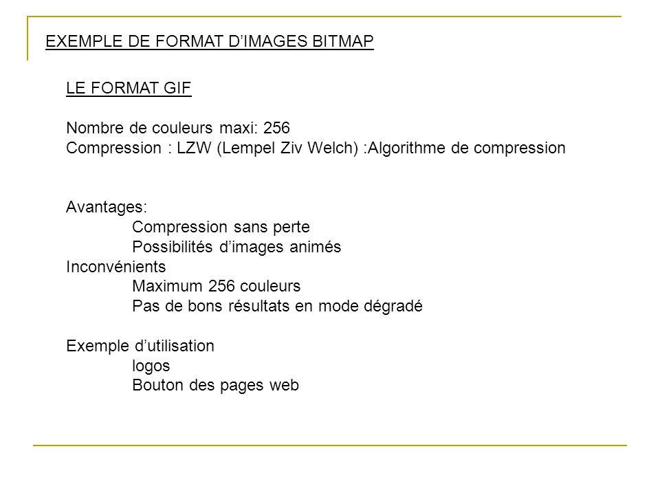 EXEMPLE DE FORMAT D'IMAGES BITMAP