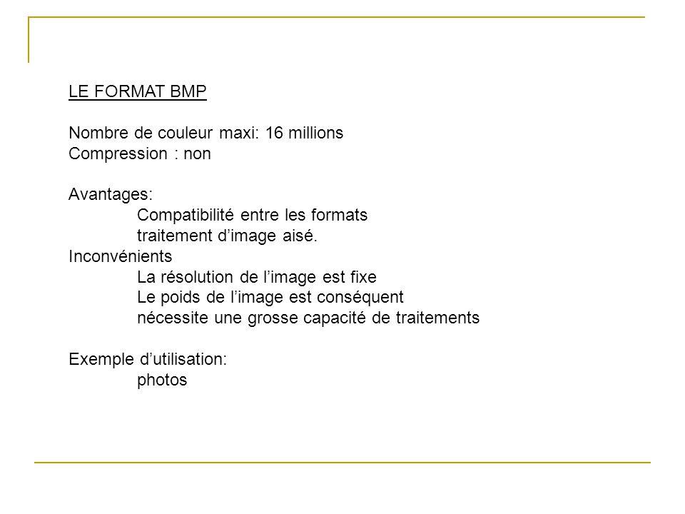 LE FORMAT BMP Nombre de couleur maxi: 16 millions. Compression : non. Avantages: Compatibilité entre les formats.